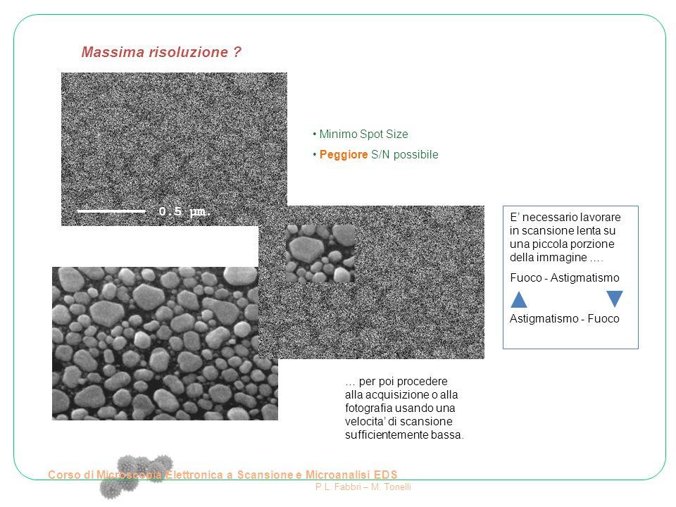 Minimo Spot Size Peggiore S/N possibile E' necessario lavorare in scansione lenta su una piccola porzione della immagine …. Fuoco - Astigmatismo Astig