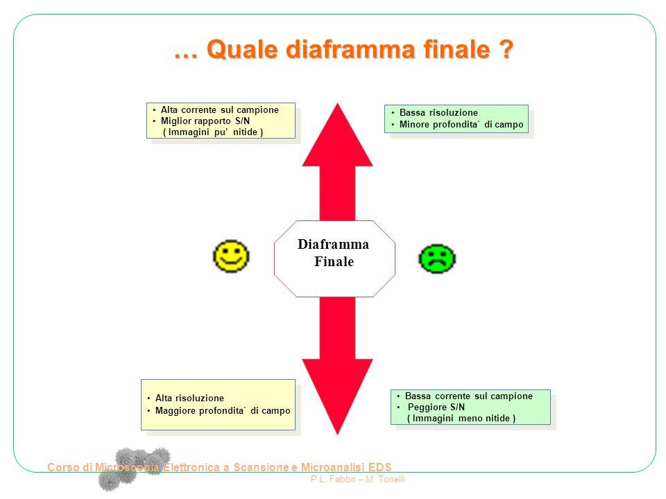… Quale diaframma finale ? Diaframma Finale Alta corrente sul campione Miglior rapporto S/N ( Immagini pu' nitide ) Alta corrente sul campione Miglior
