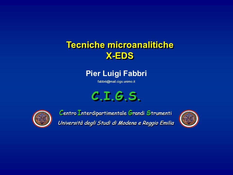 Tecniche microanalitiche X-EDS Tecniche microanalitiche X-EDS Pier Luigi Fabbri fabbrii@mail.cigs.unimo.it C.I.G.S. Università degli Studi di Modena e