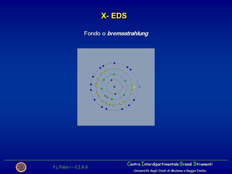X- EDS P.L.Fabbri - C.I.G.S. C entro I nterdipartimentale G randi S trumenti Università degli Studi di Modena e Reggio Emilia Fondo o bremsstrahlung