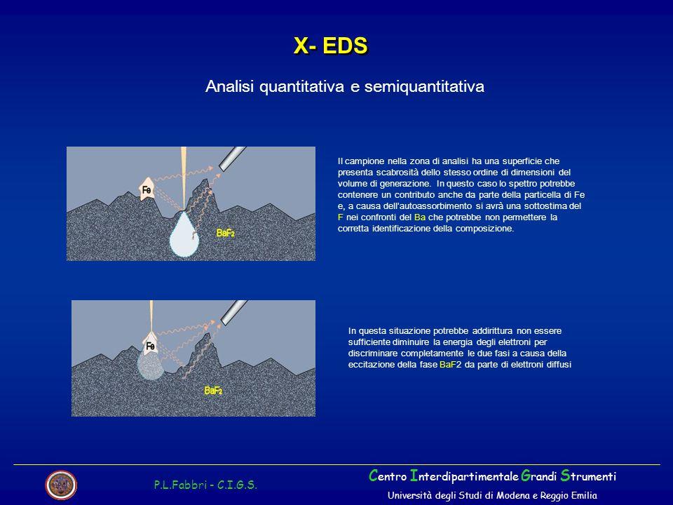 X- EDS P.L.Fabbri - C.I.G.S. C entro I nterdipartimentale G randi S trumenti Università degli Studi di Modena e Reggio Emilia Analisi quantitativa e s
