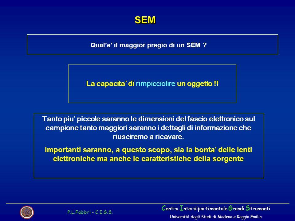Qual'e' il maggior pregio di un SEM ? SEM P.L.Fabbri - C.I.G.S. C entro I nterdipartimentale G randi S trumenti Università degli Studi di Modena e Reg