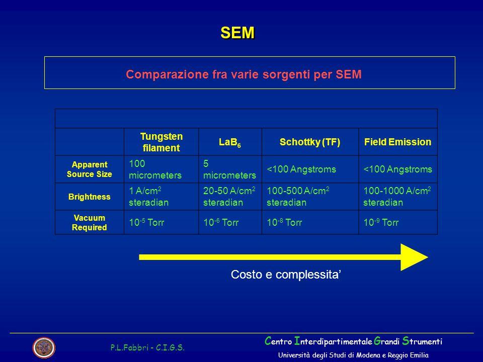 Comparazione fra varie sorgenti per SEM SEM P.L.Fabbri - C.I.G.S. C entro I nterdipartimentale G randi S trumenti Università degli Studi di Modena e R