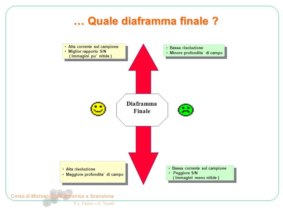 Corso di Microscopia Elettronica a Scansione P.L. Fabbri – M. Tonelli … Quale diaframma finale ? Diaframma Finale Alta corrente sul campione Miglior r