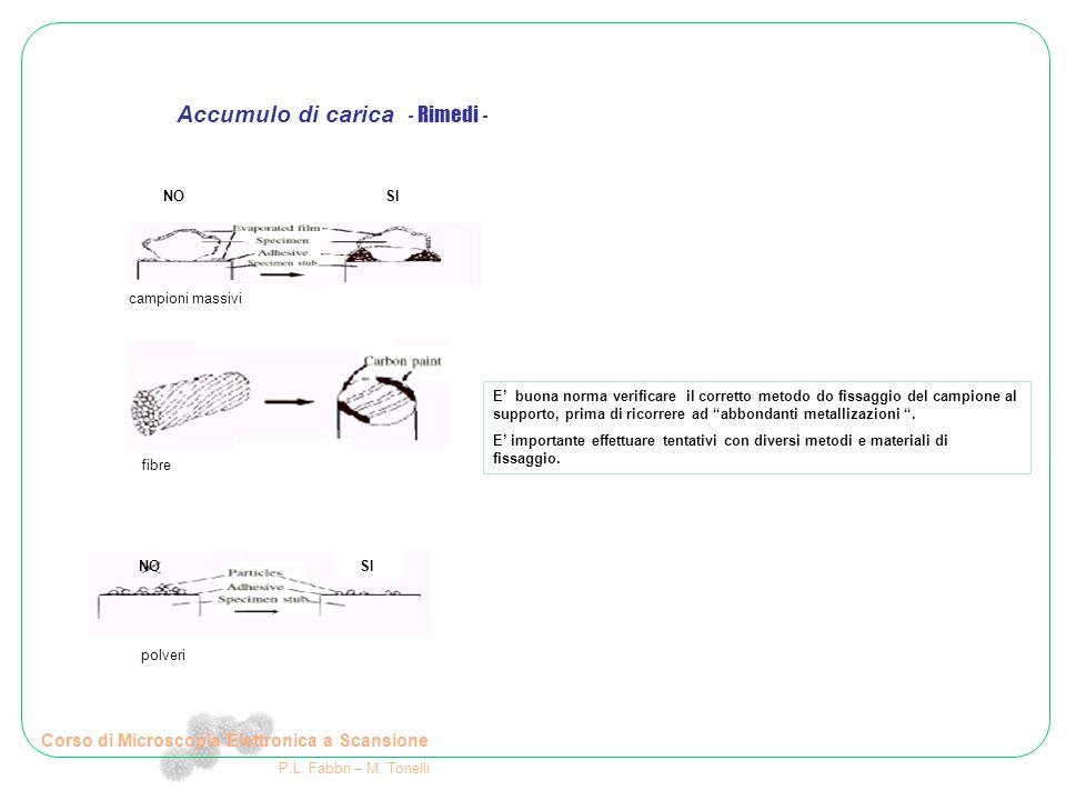 Corso di Microscopia Elettronica a Scansione P.L. Fabbri – M. Tonelli E' buona norma verificare il corretto metodo do fissaggio del campione al suppor