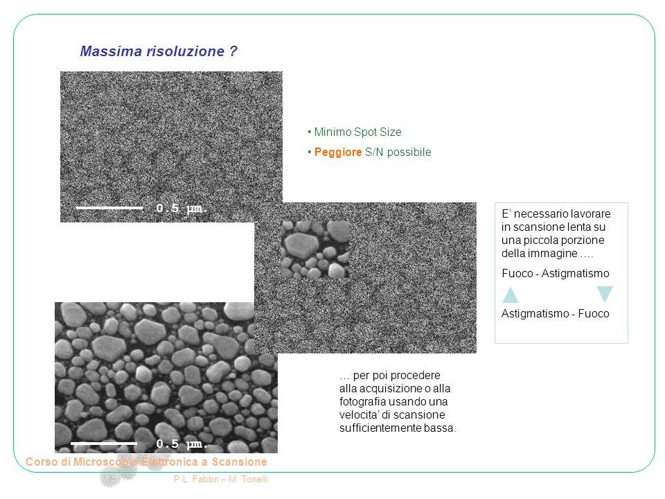 Corso di Microscopia Elettronica a Scansione P.L. Fabbri – M. Tonelli Minimo Spot Size Peggiore S/N possibile E' necessario lavorare in scansione lent