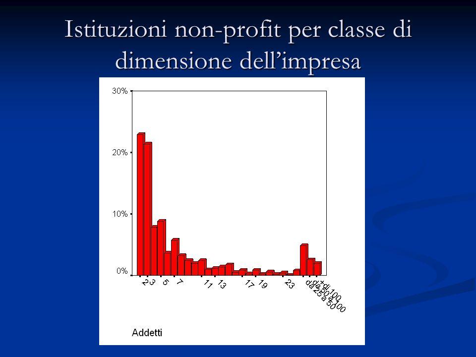 Istituzioni non-profit per classe di dimensione dell'impresa