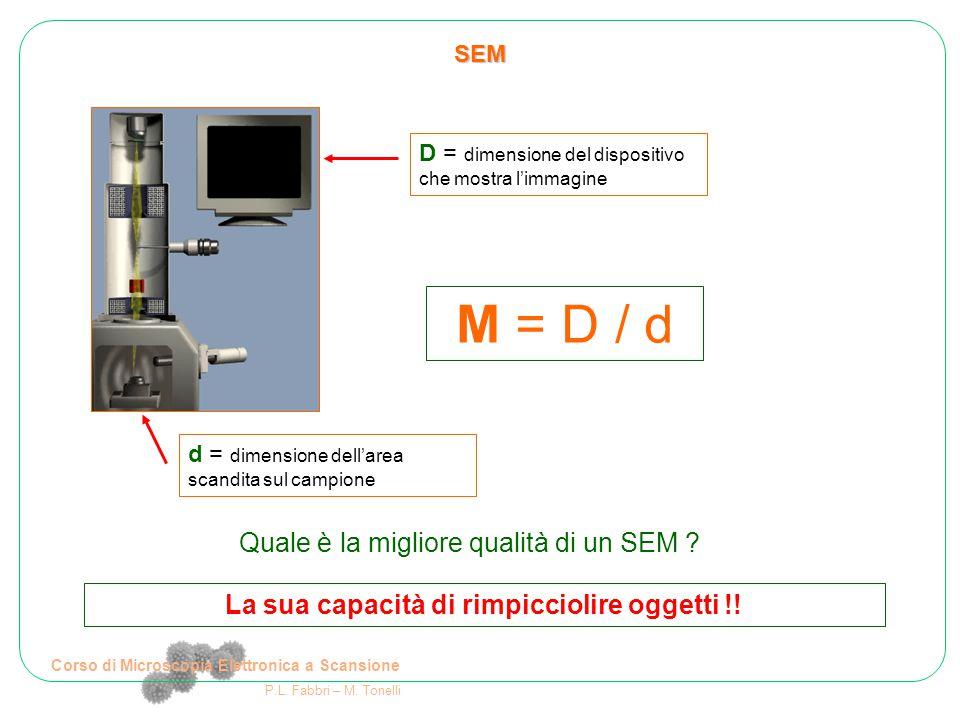 Corso di Microscopia Elettronica a Scansione P.L. Fabbri – M. Tonelli SEM d = dimensione dell'area scandita sul campione D = dimensione del dispositiv