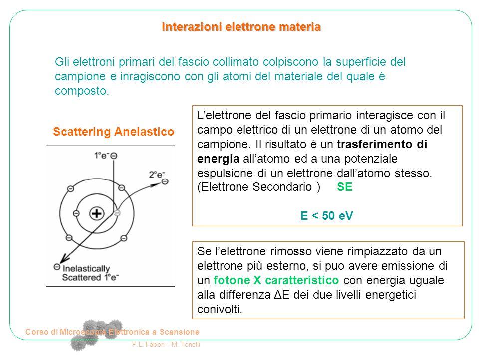 Corso di Microscopia Elettronica a Scansione P.L. Fabbri – M. Tonelli Interazioni elettrone materia Gli elettroni primari del fascio collimato colpisc