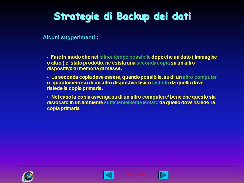P.L. Fabbri Strategie di Backup dei dati Prevedere che un evento nefasto possa avvenire in qualsiasi momento e pianificare la strategia in funzione di