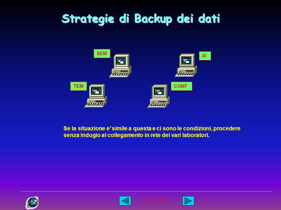 P.L. Fabbri Strategie di Backup dei dati Alcuni suggerimenti : Fare in modo che nel minor tempo possibile dopo che un dato ( Immagine o altro ) e' sta
