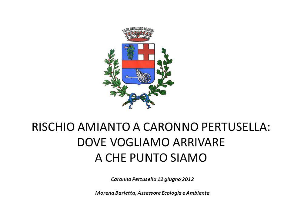 RISCHIO AMIANTO A CARONNO PERTUSELLA: DOVE VOGLIAMO ARRIVARE A CHE PUNTO SIAMO Caronno Pertusella 12 giugno 2012 Morena Barletta, Assessore Ecologia e
