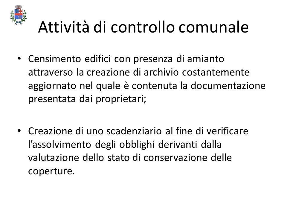 Attività di controllo comunale Censimento edifici con presenza di amianto attraverso la creazione di archivio costantemente aggiornato nel quale è con