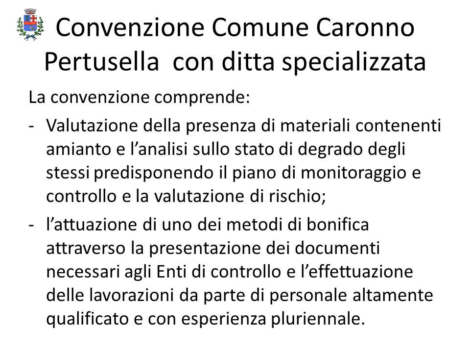 Convenzione Comune Caronno Pertusella con ditta specializzata La convenzione comprende: -Valutazione della presenza di materiali contenenti amianto e