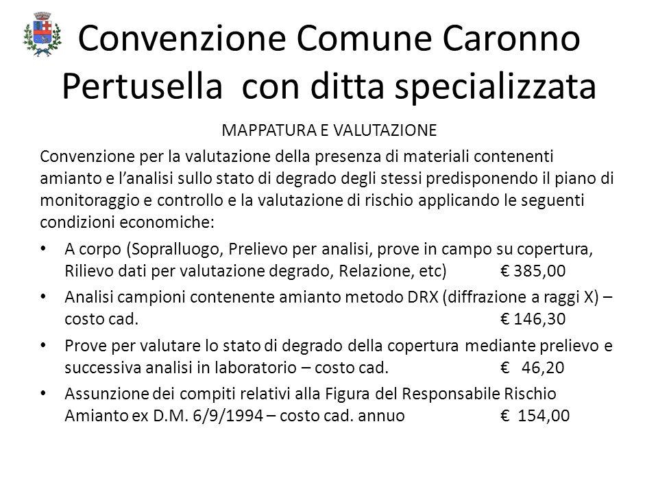 Convenzione Comune Caronno Pertusella con ditta specializzata MAPPATURA E VALUTAZIONE Convenzione per la valutazione della presenza di materiali conte