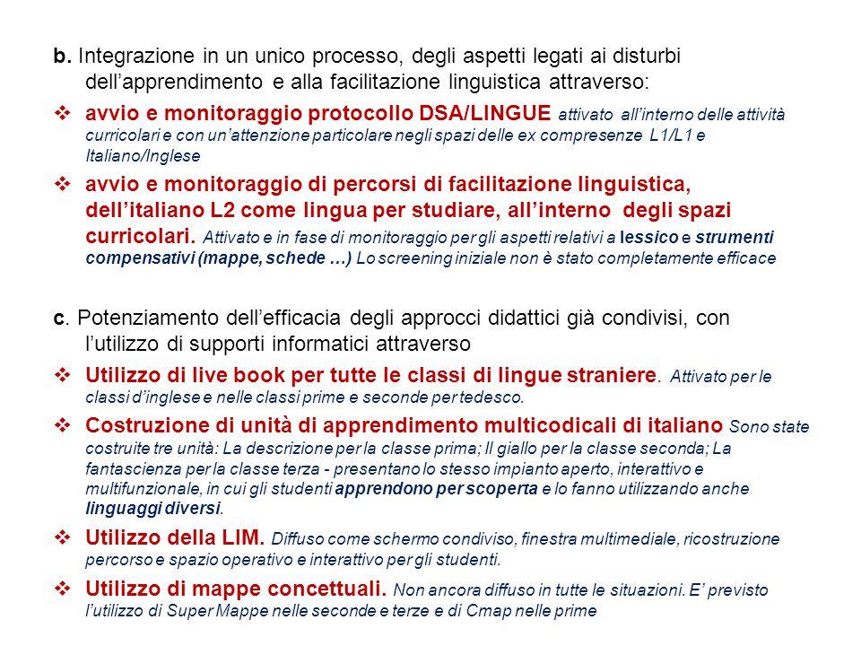 b. Integrazione in un unico processo, degli aspetti legati ai disturbi dell'apprendimento e alla facilitazione linguistica attraverso:  avvio e monit