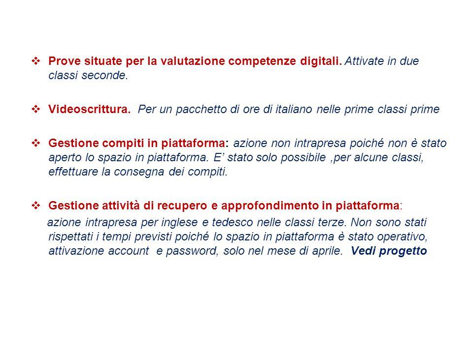  Prove situate per la valutazione competenze digitali. Attivate in due classi seconde.  Videoscrittura. Per un pacchetto di ore di italiano nelle pr