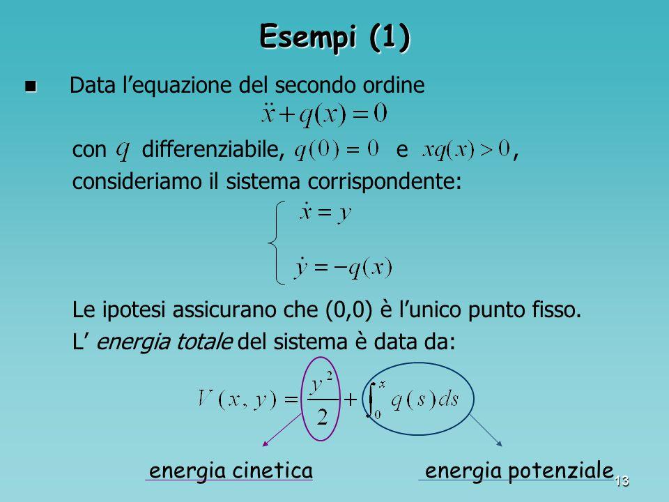 13 Esempi (1) Data l'equazione del secondo ordine con differenziabile, e, consideriamo il sistema corrispondente: Le ipotesi assicurano che (0,0) è l'