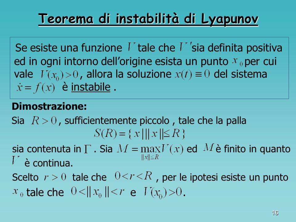16 Teorema di instabilità di Lyapunov Se esiste una funzione tale che sia definita positiva ed in ogni intorno dell'origine esista un punto per cui va