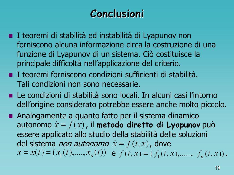 19 Conclusioni I teoremi di stabilità ed instabilità di Lyapunov non forniscono alcuna informazione circa la costruzione di una funzione di Lyapunov d