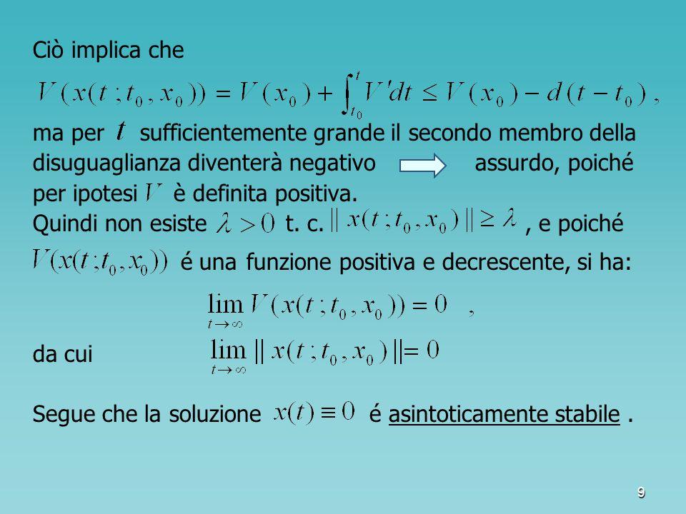 10 Dal Teorema di stabilità asintotica di Lyapunov segue, come Teorema di stabilità di Lyapunov corollario, il Teorema di stabilità di Lyapunov : Se esiste una funzione definita positiva, tale che sia semidefinita negativa, allora la soluzione di è stabile.