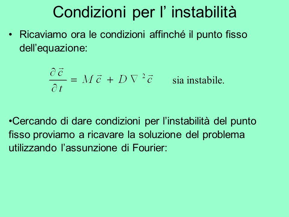 Ricaviamo ora le condizioni affinché il punto fisso dell'equazione: Condizioni per l' instabilità sia instabile. Cercando di dare condizioni per l'ins