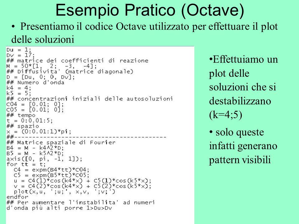 Esempio Pratico (Octave) Presentiamo il codice Octave utilizzato per effettuare il plot delle soluzioni Effettuiamo un plot delle soluzioni che si des