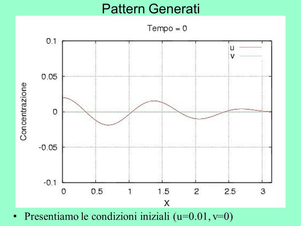 Pattern Generati Presentiamo le condizioni iniziali (u=0.01, v=0)
