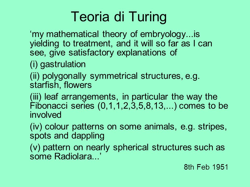 Teoria di Turing 'my mathematical theory of embryology...is yielding to treatment, and it will so far as I can see, give satisfactory explanations of