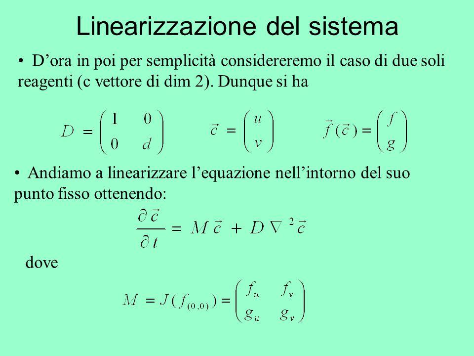 Linearizzazione del sistema Andiamo a linearizzare l'equazione nell'intorno del suo punto fisso ottenendo: D'ora in poi per semplicità considereremo i