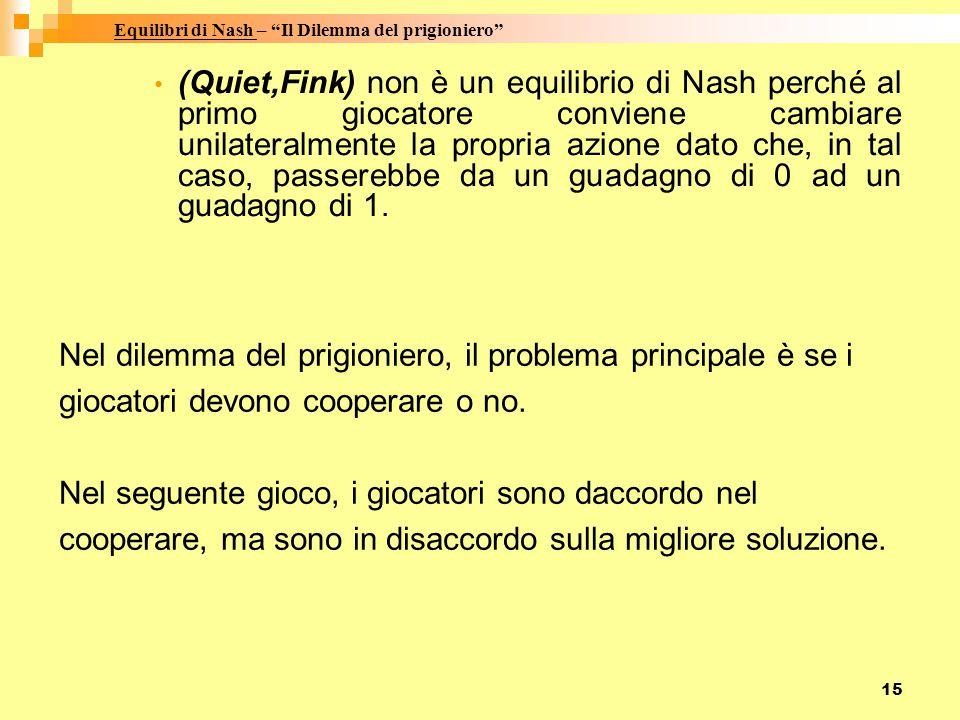 15 (Quiet,Fink) non è un equilibrio di Nash perché al primo giocatore conviene cambiare unilateralmente la propria azione dato che, in tal caso, passe