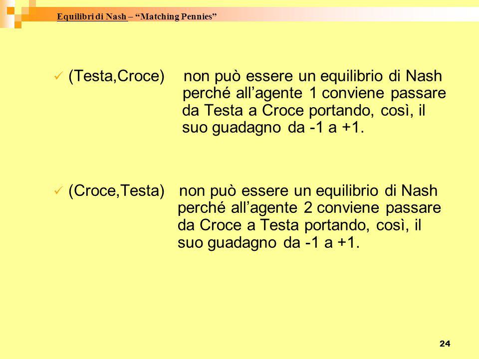 24 (Testa,Croce) non può essere un equilibrio di Nash perché all'agente 1 conviene passare da Testa a Croce portando, così, il suo guadagno da -1 a +1.