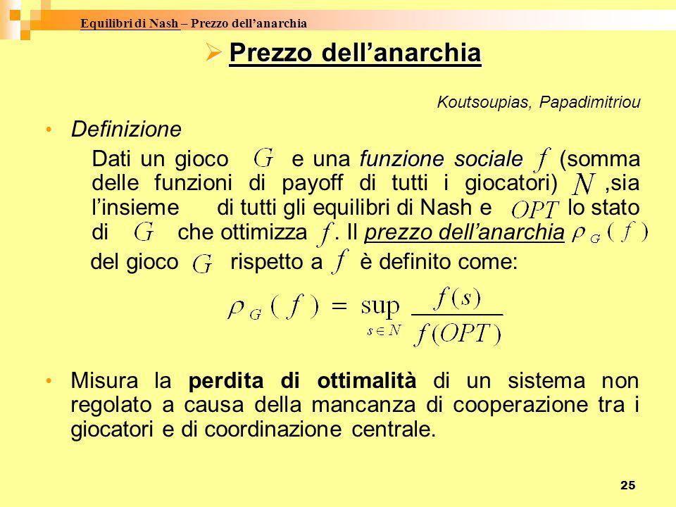 25 PPPPrezzo dell'anarchia Koutsoupias, Papadimitriou Definizione Dati un gioco e una f ff funzione sociale (somma delle funzioni di payoff di tutti i giocatori),sia l'insieme di tutti gli equilibri di Nash e lo stato di che ottimizza.