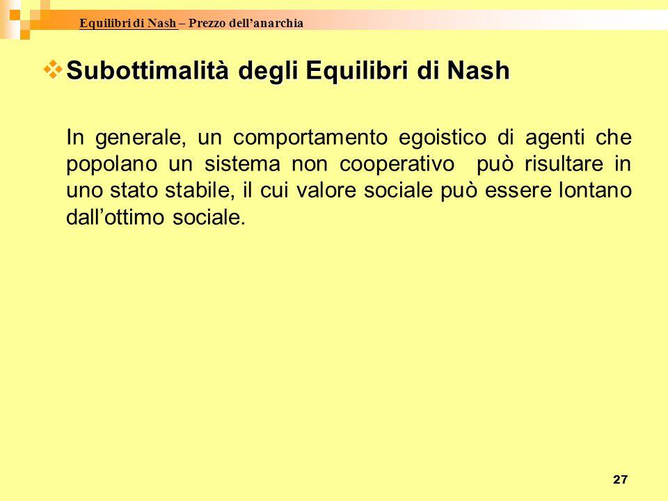 27  Subottimalità degli Equilibri di Nash In generale, un comportamento egoistico di agenti che popolano un sistema non cooperativo può risultare in uno stato stabile, il cui valore sociale può essere lontano dall'ottimo sociale.