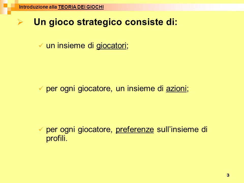 3  Un gioco strategico consiste di: un insieme di giocatori; per ogni giocatore, un insieme di azioni; per ogni giocatore, preferenze sull'insieme di