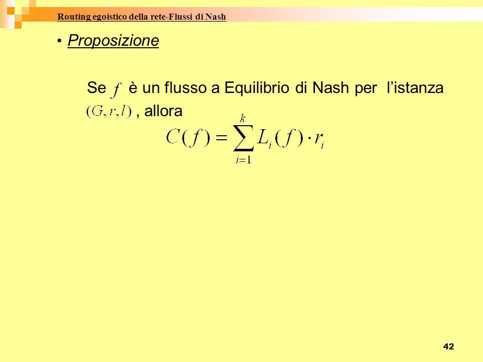 42 Proposizione Se è un flusso a Equilibrio di Nash per l'istanza, allora Routing egoistico della rete-Flussi di Nash