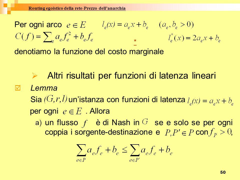 50 Per ogni arco * denotiamo la funzione del costo marginale  Altri risultati per funzioni di latenza lineari  Lemma Sia un'istanza con funzioni di