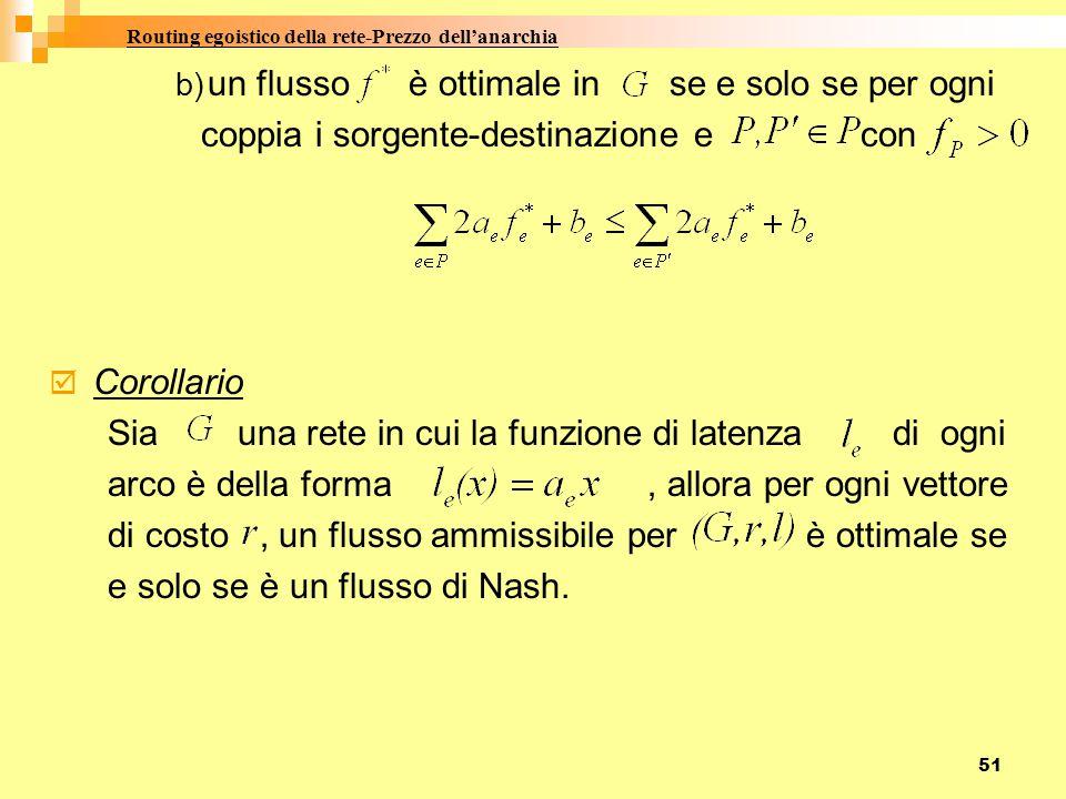 51 b) un flusso è ottimale in se e solo se per ogni coppia i sorgente-destinazione e con  Corollario Sia una rete in cui la funzione di latenza di ogni arco è della forma, allora per ogni vettore di costo, un flusso ammissibile per è ottimale se e solo se è un flusso di Nash.