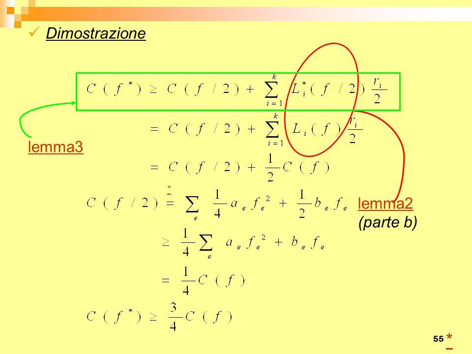 55 Dimostrazione lemma3 * lemma2 (parte b) *