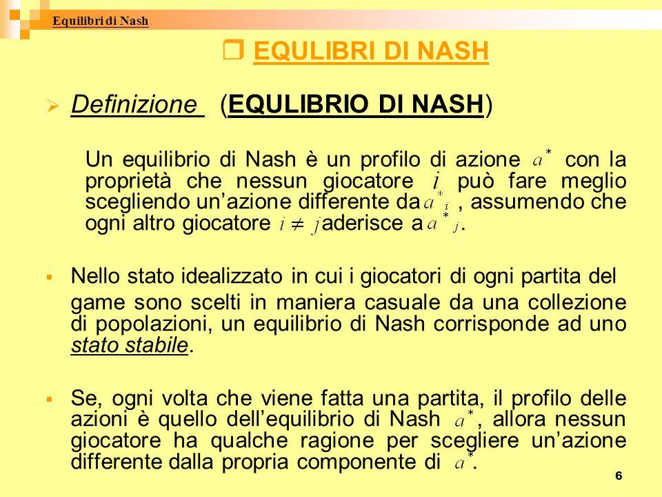 6  E E QULIBRI DI NASH DDefinizione (EQULIBRIO DI NASH) Un equilibrio di Nash è un profilo di azione con la proprietà che nessun giocatore può fare meglio scegliendo un'azione differente da, assumendo che ogni altro giocatore aderisce a.