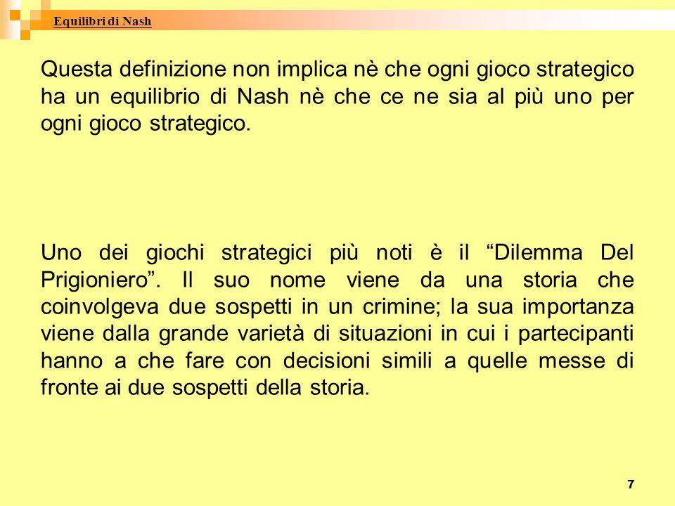 7 Questa definizione non implica nè che ogni gioco strategico ha un equilibrio di Nash nè che ce ne sia al più uno per ogni gioco strategico. Uno dei