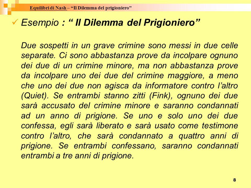 8 Esempio : Il Dilemma del Prigioniero Due sospetti in un grave crimine sono messi in due celle separate.