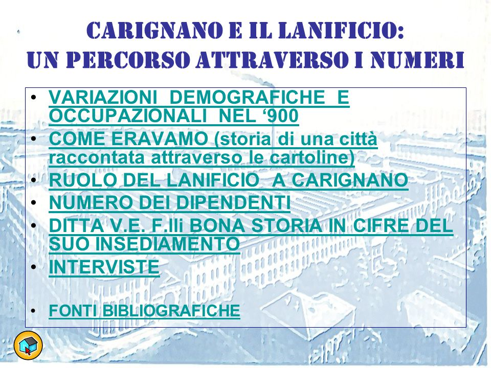 Carignano e il Lanificio: un percorso attraverso i numeri VARIAZIONI DEMOGRAFICHE E OCCUPAZIONALI NEL '900VARIAZIONI DEMOGRAFICHE E OCCUPAZIONALI NEL