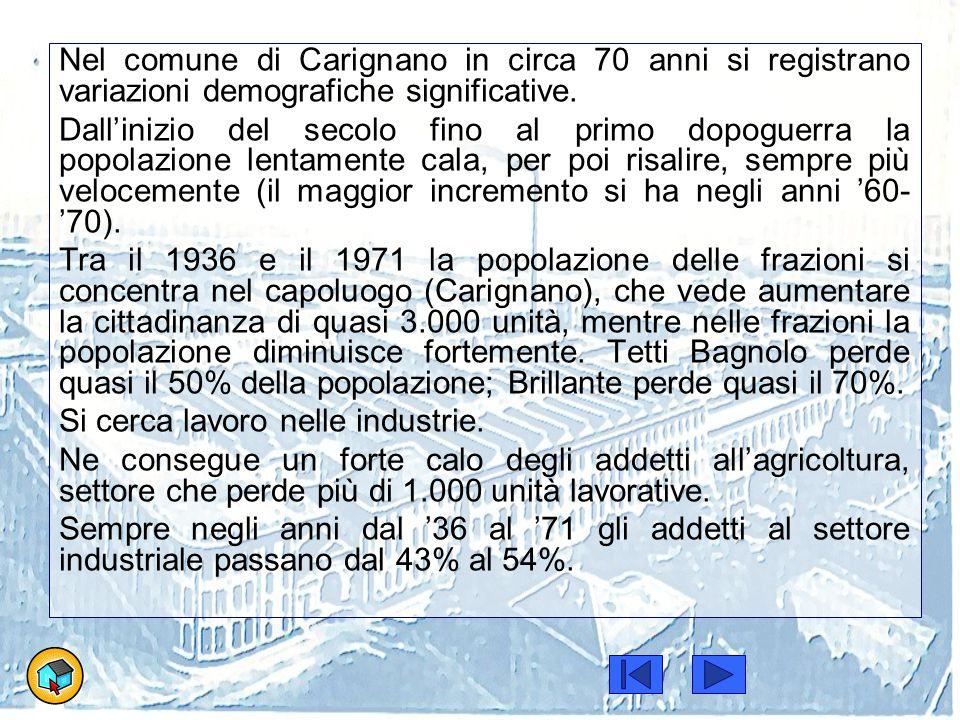 Nel comune di Carignano in circa 70 anni si registrano variazioni demografiche significative. Dall'inizio del secolo fino al primo dopoguerra la popol