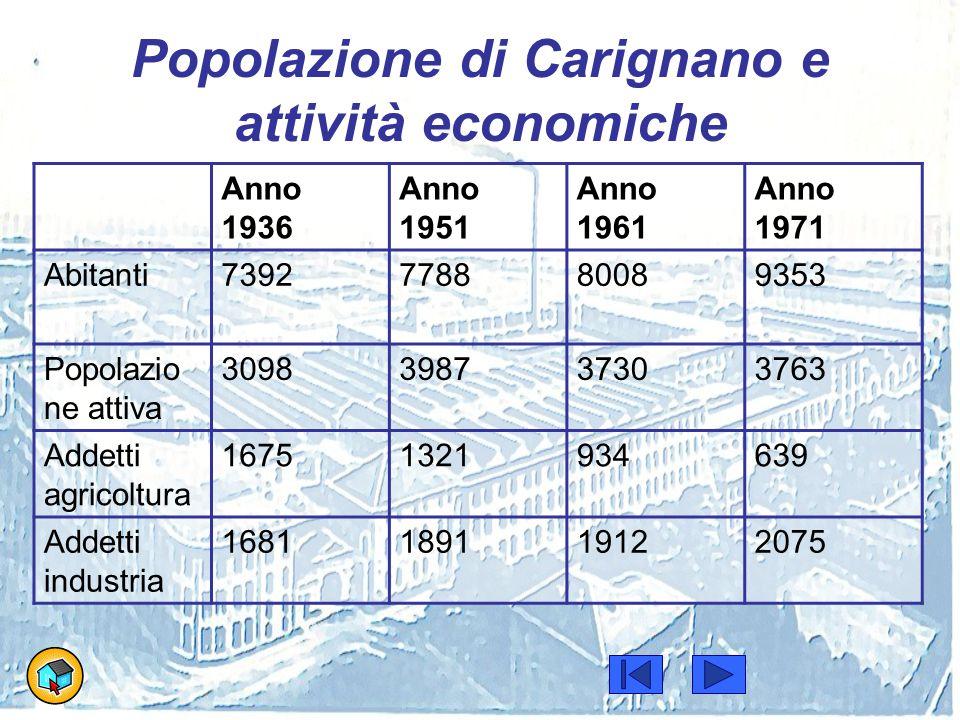 Popolazione di Carignano e attività economiche Anno 1936 Anno 1951 Anno 1961 Anno 1971 Abitanti7392778880089353 Popolazio ne attiva 3098398737303763 A