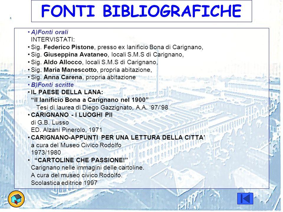 FONTI BIBLIOGRAFICHE A)Fonti orali INTERVISTATI: Sig. Federico Pistone, presso ex lanificio Bona di Carignano, Sig. Giuseppina Avataneo, locali S.M.S