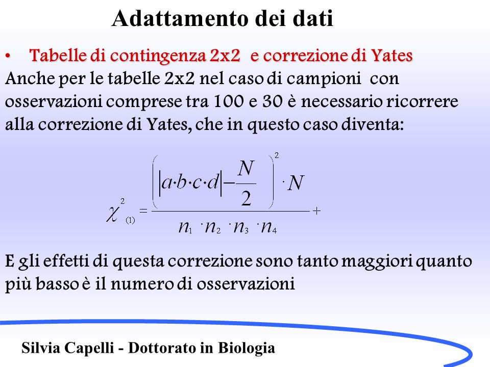 Adattamento dei dati Tabelle di contingenza 2x2 e correzione di YatesTabelle di contingenza 2x2 e correzione di Yates Anche per le tabelle 2x2 nel cas