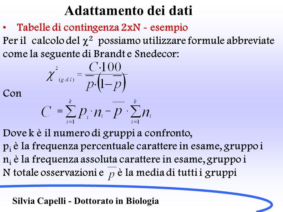 Adattamento dei dati Tabelle di contingenza 2xN - esempioTabelle di contingenza 2xN - esempio Per il calcolo del  2 possiamo utilizzare formule abbre