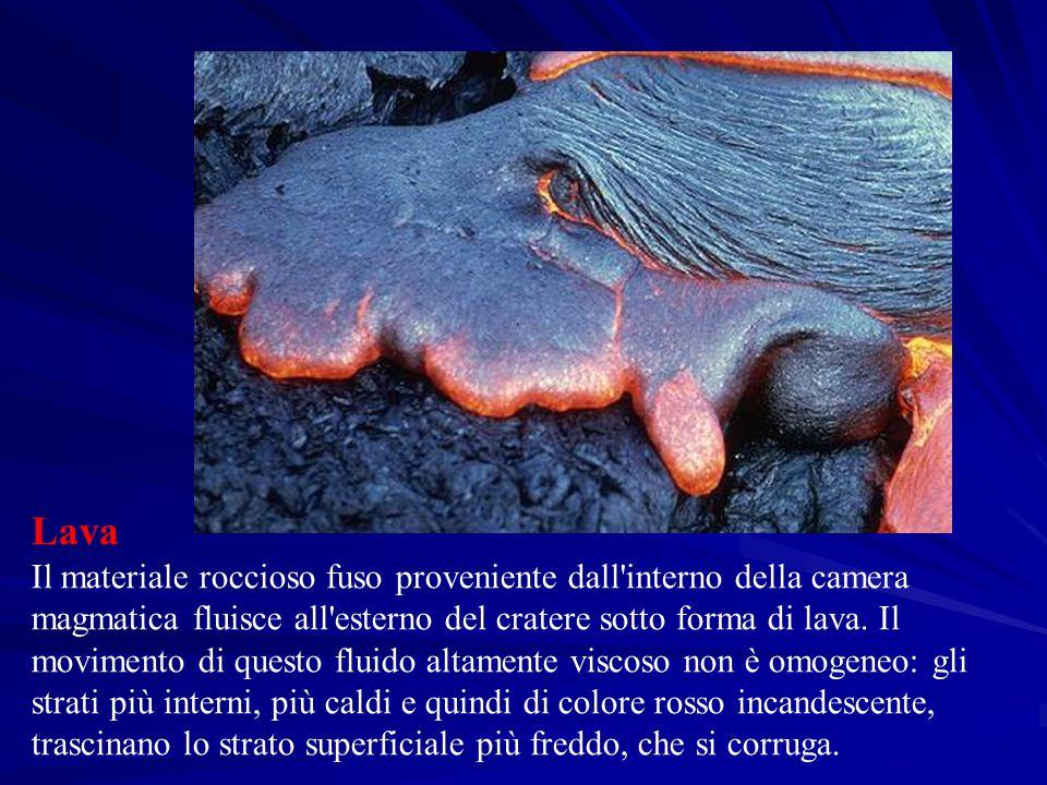 Lava Il materiale roccioso fuso proveniente dall'interno della camera magmatica fluisce all'esterno del cratere sotto forma di lava. Il movimento di q