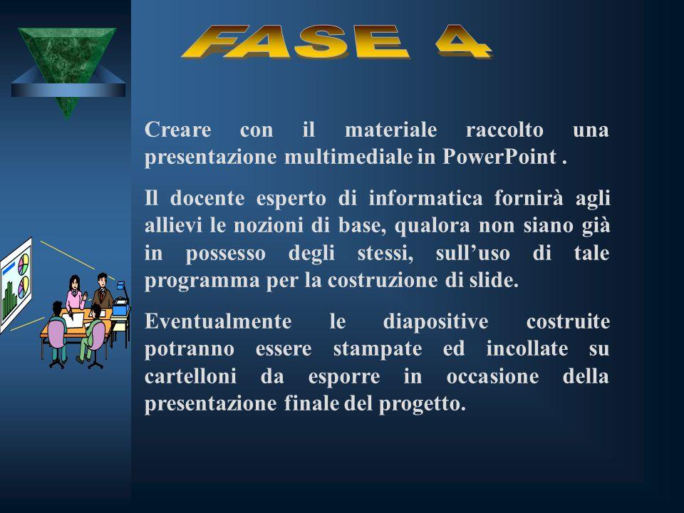 Creare con il materiale raccolto una presentazione multimediale in PowerPoint. Il docente esperto di informatica fornirà agli allievi le nozioni di ba